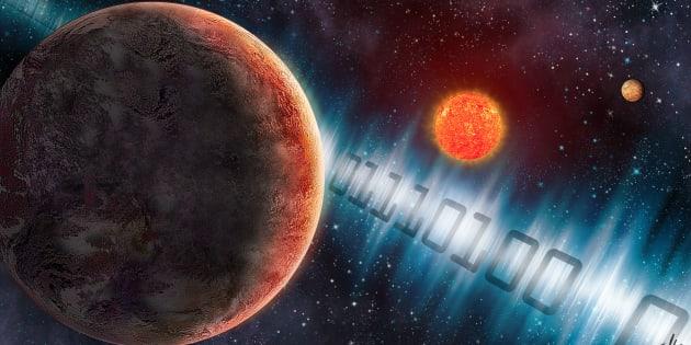 Une vue d'artiste de l'exoplanète GJ 273b, où le Meti a envoyé un signal radio composé de 0 et de 1.