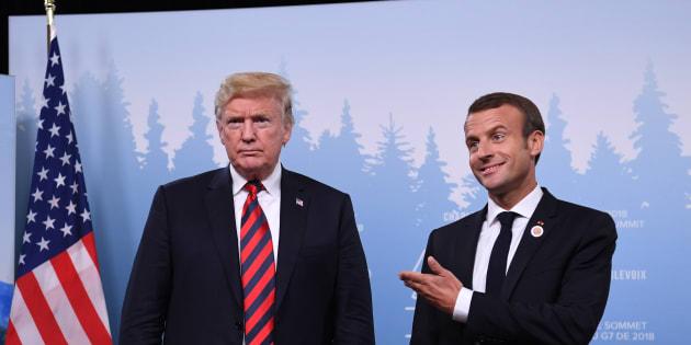 AFP                       Emmanuel Macron et Donald Trump lors de leur entretien bilatéral en marge du G7 au Canada