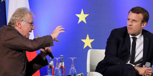 Emmanuel Macron et Daniel Cohn-Bendit lors d'un débat sur l'Europe à Francfort, le 10 octobre 2017