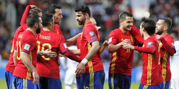 Los jugadores de la Selección celebran el segundo gol de los cuatro que le marcó a Israel el pasado marzo en Gijón.