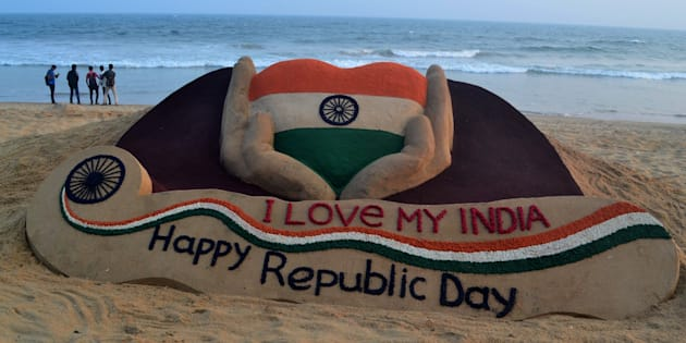 A sand sculpture is seen, creating by Indian sand artist Sudarshan Pattnaik on the eve of Republic Day celebration at Puri on the eastern cost of Bay of Bengal Sea on Wednesday, on January 25, 2017.