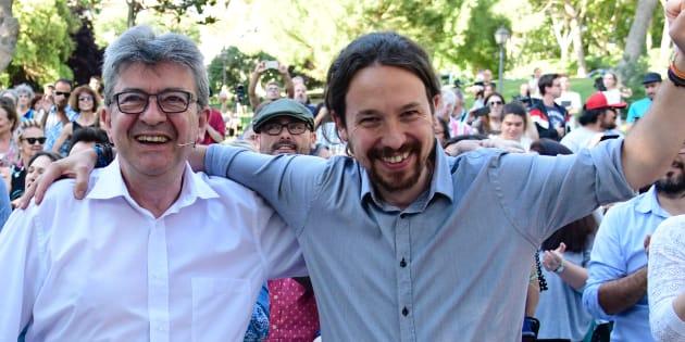 Jean-Luc Mélenchon et Pablo Iglesias lors d'un meeting politique à Madrid, le 2 juillet 2018.