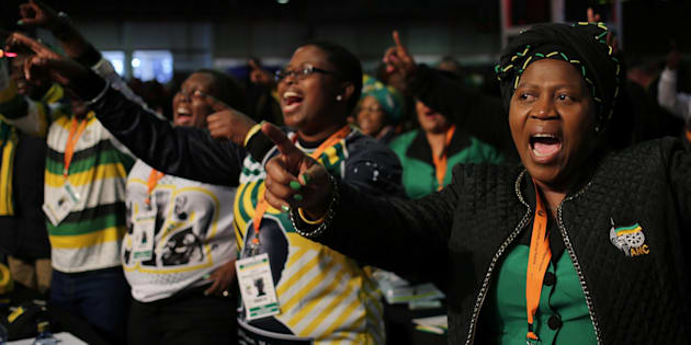 Delegates sing during the African National Congress 5th National Policy Conference at the Nasrec Expo Centre in Soweto, South Africa June 30, 2017.
