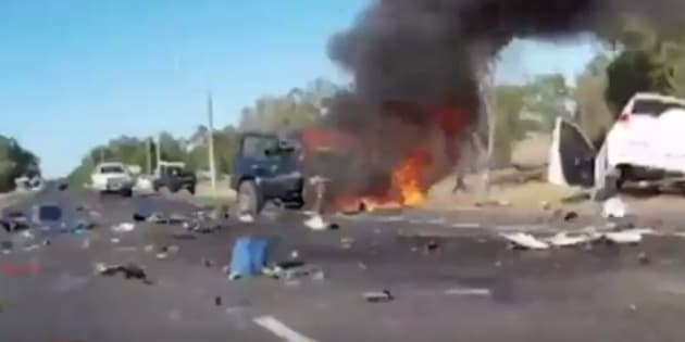 A horor car smash in WA has been caught on camera.