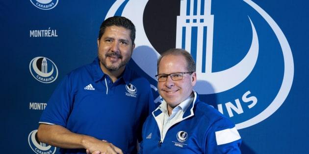 Danny Maciocia (droite) a été le coordonnateur offensif des Alouettes en 2001 alors que Anthony Calvillo était le quart-arrière de l'équipe.