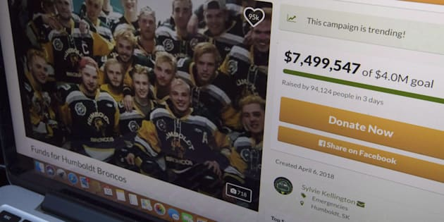 A GoFundMe page for the Humboldt Broncos is seen on a computer near Tisdale, Sask. on April, 10, 2018. The fundraiser had raised more than $12 million at the time of publication.