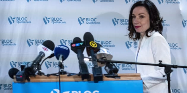 Martine Ouellet arrives at a news conference in Montreal on June 4, 2018.