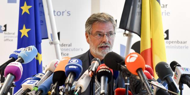 Le porte-parole du parquet fédéral Eric Van der Sypt lors d'une conférence de presse le 21 juin à Bruxelles.