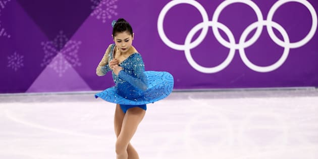 GANGNEUNG, SOUTH KOREA  FEBRUARY 23, 2018: Figure skater Satoko Miyahara of Japan performs a jump during the ladies' free skating event as part of the figure skating competition at the 2018 Winter Olympic Games, at the Gangneung Ice Arena. Valery Sharifulin/TASS (Photo by Valery SharifulinTASS via Getty Images)