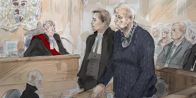 Justice John McMahon, top left to right, defence lawyer James Miglin, Bruce McArthur and lead investigator, Inspector Hank Idsinga, are shown during a sentencing hearing in Toronto on Feb. 8, 2019.