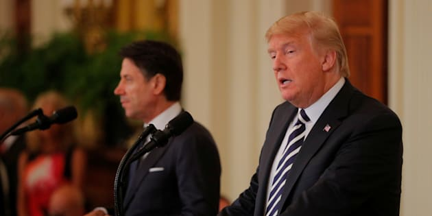U.S. President Donald Trump holds a joint news conference with Italian Prime Minister Giuseppe Conte in the East Room of the White House in Washington, U.S., July 30, 2018. REUTERS/Brian Snyder