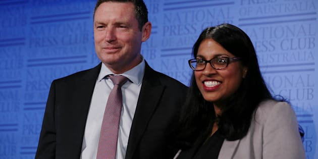 Lyle Shelton, Managing Director of the Australian Christian Lobby and Karina Okotel, Vice President of the Federal Liberal Party, at the National Press Club.