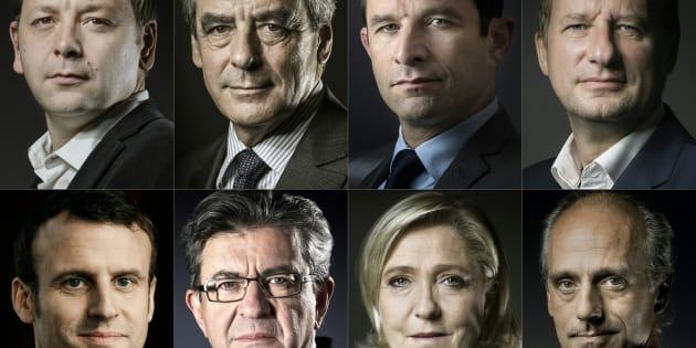 François Fillon, Yannick Jadot, Jean-Luc Mélenchon, Emmanuel Macron et Benoît Hamon répondent à la Fondation Abbé Pierre sur leur engagement en faveur du mal-logement, mardi 31 janvier.