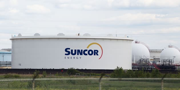 Several large Suncor storage tanks are pictured at the company's Canadian refinery in Edmonton, Alberta on June 17, 2015.
