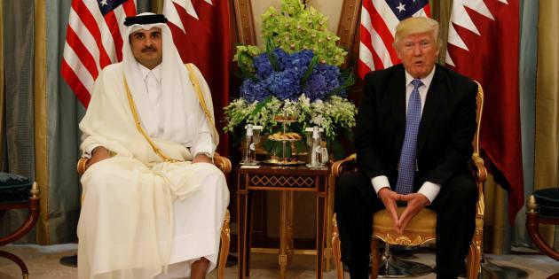 L'émir Tamim ben Hamad al-Thani et Donald Trump, le 21 mai, quelques jours avant le piratage.