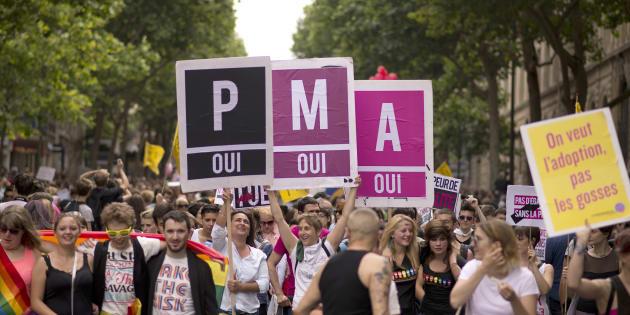 Des manifestants réclamant l'ouverture de la PMA aux couples lesbiens et aux femmes seules.