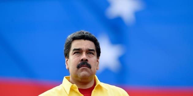 El presidente de Venezuela, Nicolás Maduro, durante un mitin de campaña en Caracas, en la campaña de 2015.