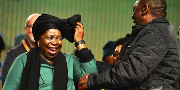 Deputy President Cyril Ramaphosa (R) and Nkosazana Dlamini-Zuma.