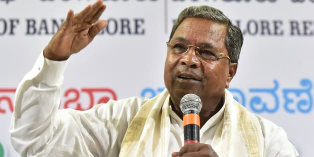 BENGALURU, INDIA - MAY 6: Karnataka Chief Minister Siddaramaiah during a press conference at the Press Club, on May 6, 2018 in Bengaluru, India. Siddaramaiah mocked the Karnataka BJP, saying it solely depended on the prime minister as regards the May 12 state Assembly polls as it had no leader with a 'face value'. (Photo by Arijit Sen/Hindustan Times via Getty Images)