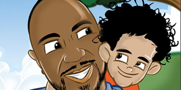 "Arnold Henry (L) and son Amarion (R) in the children's book ""Daddy's Mini-Me."""