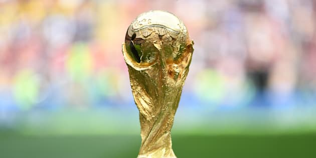 MOSCOW, RUSSIA - JUNE 14:  A detailed view of the World Cup Trophy is seen prior to the 2018 FIFA World Cup Russia Group A match between Russia and Saudi Arabia at Luzhniki Stadium on June 14, 2018 in Moscow, Russia.  (Photo by Michael Regan - FIFA/FIFA via Getty Images)