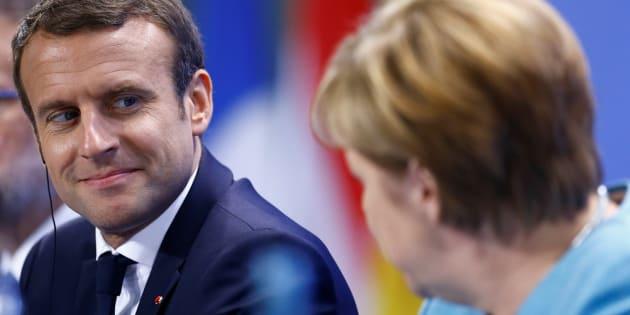 Le Président Emmanuel Macron et la Chancelière Angela Merkel le 29 juin 2017 à Berlin