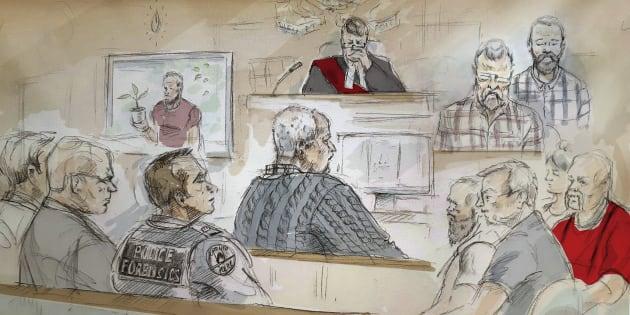 Boceto artístico que muestra al asesino serial Bruce McArthur durante su juicio en Toronto.