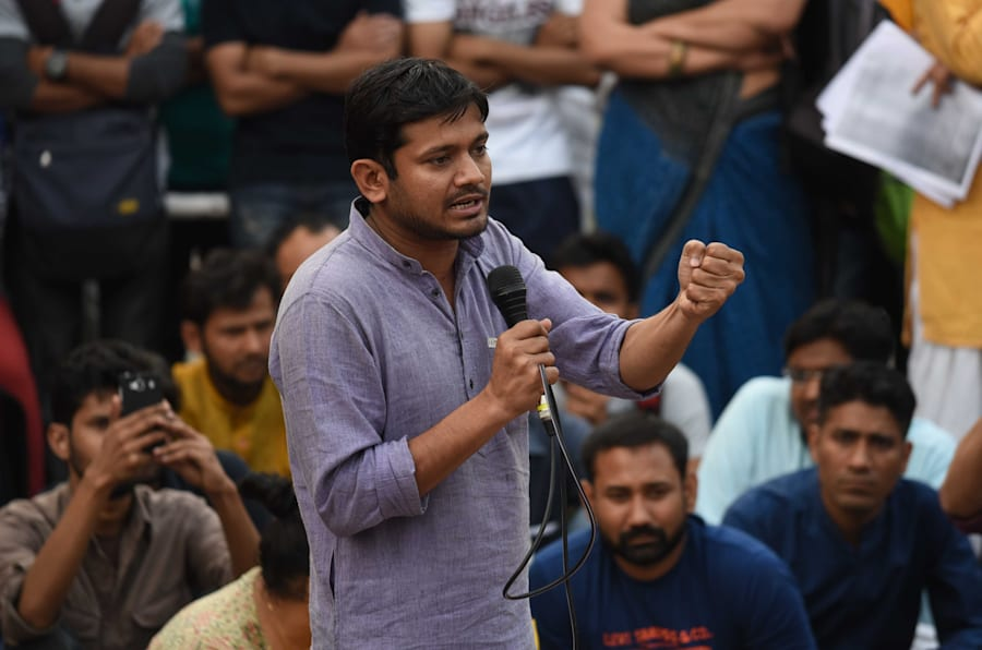 NEW DELHI, INDIA - MARCH 7: Jawaharlal Nehru University Students Union President Kanhaiya Kumar speaks at the JNU Campus, on March 7, 2016 in New Delhi, India.