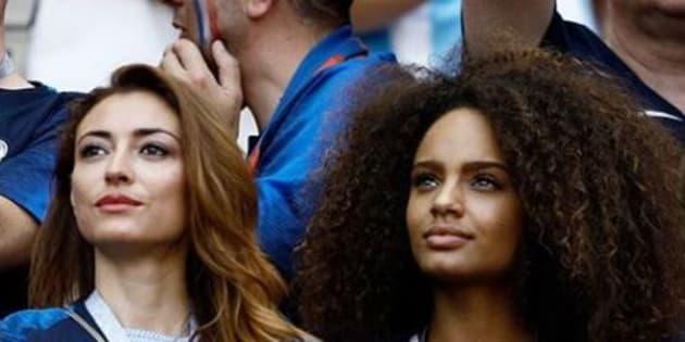 Rachel Legrain-Trapani et Alicia Aylies, deux anciennes Miss France présentes en Russie pour soutenir les Bleus samedi 29 juin 2018.