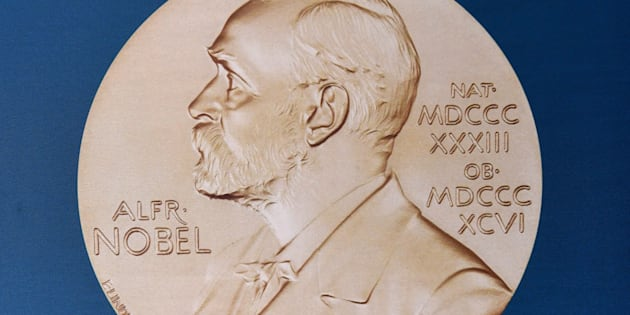 A portrait of Swedish inventor and scholar Alfred Nobel can be seen on the speaker's desk at the Nobel Forum in Stockholm, prior to the announcement of the Nobel Prize in Medicine on October 3, 2016. The 2016 Nobel prize season kicks off with the announcement of the medicine prize by a scandal-tainted jury, to be followed over the next 10 days by the other science awards and those for peace and literature. / AFP / JONATHAN NACKSTRAND        (Photo credit should read JONATHAN NACKSTRAND/AFP/Getty Images)