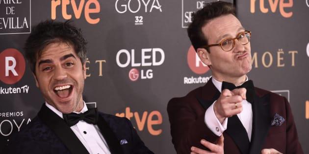 Ernesto Sevilla y Joaquin Reyes, en la 32ª edición de los Premios Goya.