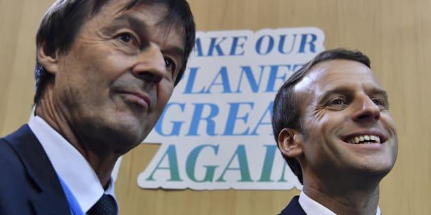 Emmanuel Macron et son ministre de la Transition énergétique Nicolas Hulot.