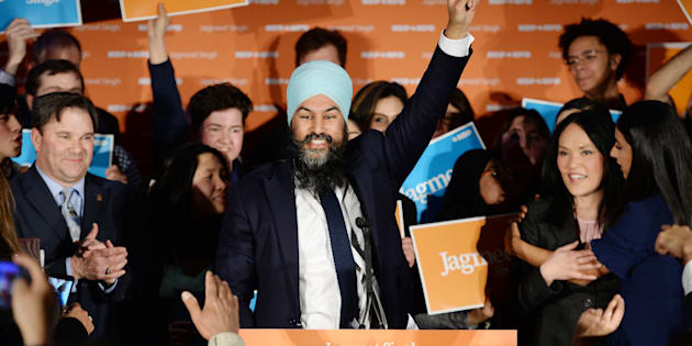 NDP leader Jagmeet Singh celebrates his Burnaby South byelection win at his election night party in Burnaby, B.C. on Feb. 25, 2019.
