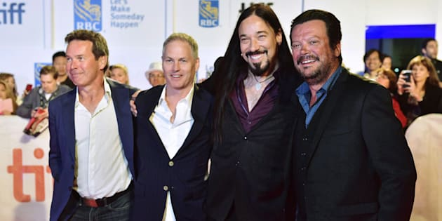 """The Tragically Hip (from left: Gord Sinclair, Johnny Fay, Rob Baker and Paul Langlois) arrive on the red carpet for the movie """"Long Time Running"""" during the 2017 Toronto International Film Festival in Toronto, Wed. Sept. 13, 2017. Newstrike Resources Ltd. says the Tragically Hip are backing the company's deal to be acquired by CanniMed Therapeutics Inc."""