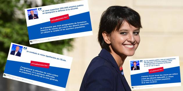 """Avant le débat de la primaire à droite, Najat Vallaud-Belkacem """"traduit"""" les propositions des candidats"""