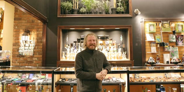 Friendly Strangers founder, Robin Ellins, inside the Toronto store, has 25 years of experience selling cannabis paraphernalia, but can't sell the actual drug until he gets a licence. He's entered the province's lottery for one of the first 25 cannabis retail licences.