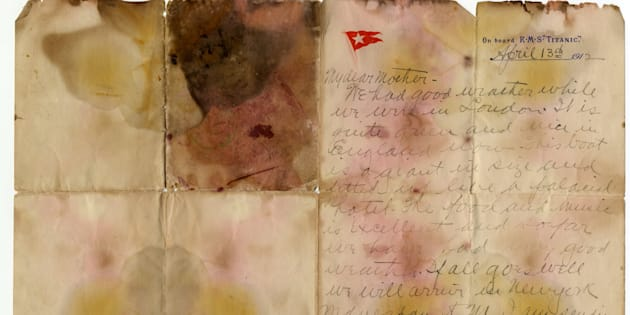 The letter was recovered from the body of Alexander Oskar Holverson, a Titanic victim.