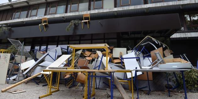 Un amphithéâtre de l'université Paul-Valéry-Montpellier bloqué par les étudiants, le 27 mars 2018.