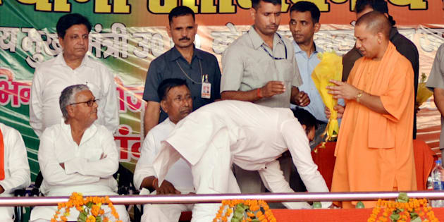 MLA Amanmani Tripathi seeks blessing of UP chief minister Yogi Adityanath at a function in Gorakhpur on Saturday.