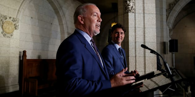 Prime Minister Justin Trudeau and B.C. Premier John Horgan take part in a news conference on Parliament Hill, July 25, 2017.