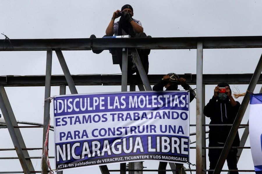 Manifestantes en Ticuantepe, Nicaragua.