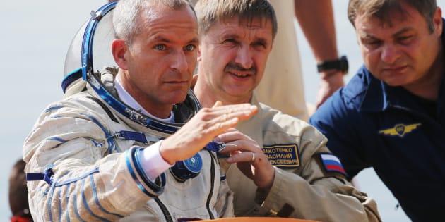 L'astronaute David Saint-Jacques, un membre d'un équipage qui se rendra à la Station spatiale internationale en 2018, est vu ici lors d'un entraînement aquatique au Centre d'entraînement des astronautes Yuri Gagarin à Zvyozdny Gorodok, en Russie.