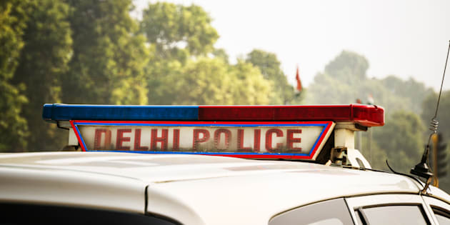 A police car on the street in New Delhi, India,
