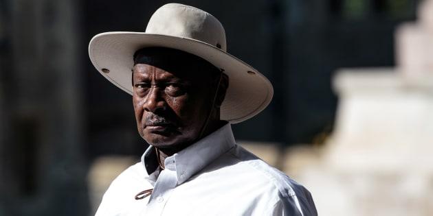 El presidente de Uganda Yoweri Museveni en el castillo de Windsor, en Inglaterra.