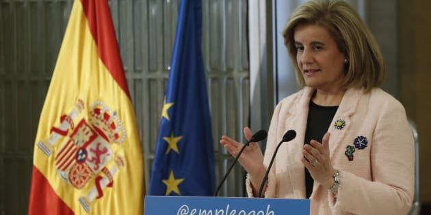 """La ministra de Empleo y Seguridad Social, Fátima Báñez, durante la presentación del libro de la OIT """"El futuro del trabajo que queremos"""", el pasado día 11 en Madrid."""
