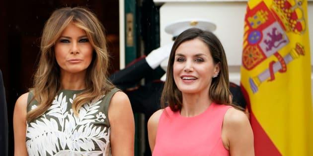 Melania Trump y la reina Letizia, posando en la Casa Blanca.