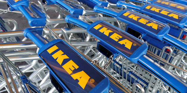 Trollies are seen outside an IKEA Group store in Roissy-en-France, France, February 29, 2016. REUTERS/Jacky Naegelen/File Photo