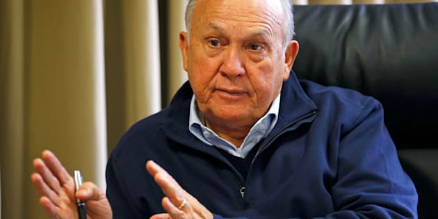 South African magnate Christo Wiese, whose companies include Steinhoff and investment heavyweight Brait, gestures during an interview in Cape Town, South Africa, September 27, 2016.