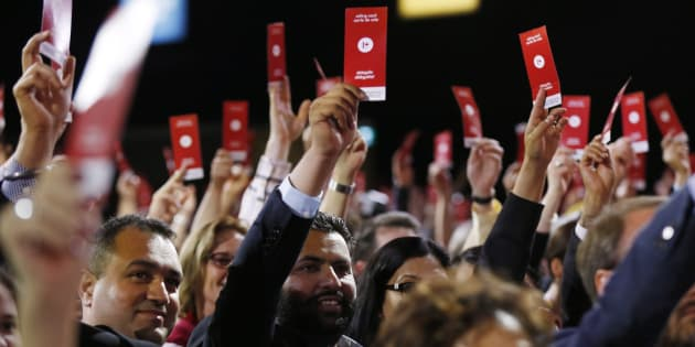 Liberal delegates vote for the new party constitution at the 2016 Liberal Biennial Convention in Winnipeg on May 28, 2016.
