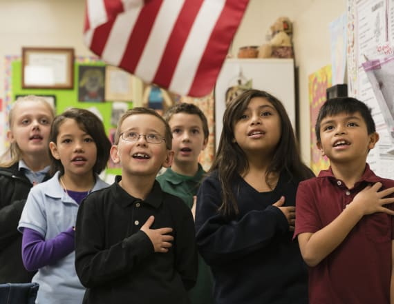 Teacher failed kids who didn't stand for the pledge